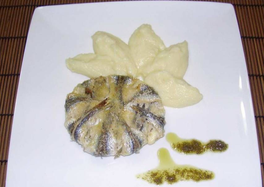 Tortino di alici al pesto di finocchietto
